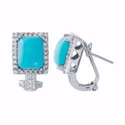 14KT White Gold 4.88ctw Turquoise and Diamond Earrings