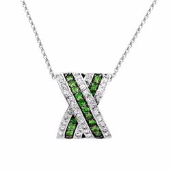 14KT White Gold 0.56ctw Green Garnet and Diamond Pendant with Chain