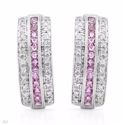18KT White Gold 1.11ctw Pink Sapphire and Diamond Earrings