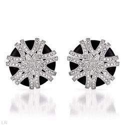 14KT White Gold 14.15ctw Black Onyx and Diamond Earrings