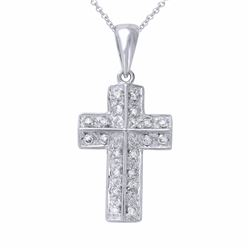 14KT White Gold 0.30ctw Diamond Cross Pendant with Chain