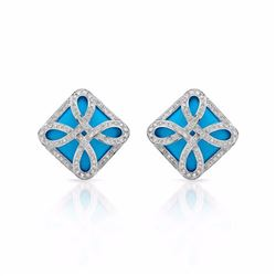 14KT White Gold 17.39ctw Turquoise and Diamond Earrings