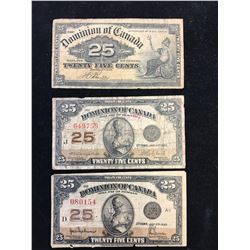 1900,1923 DOMINION OF CANADA 25 CENT FRACTION AL NOTE LOT OF 3 NOTES!