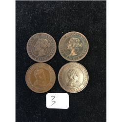 1900H,1901,1903,1904 CANADA LARGE CENTS LOT OF 4 COINS!