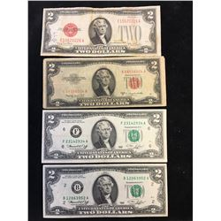 USA $2 NOTE LOT OF 4 NOTES!