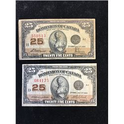 1923 DOMINION OF CANADA 25 CENT FRACTIONAL NOTES! LOT OF 2!