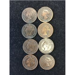 1859-1901 CANADA LARGE CENTS LOT OF8 COINS!