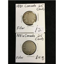 1880H AND 1881H CANADA 25 CENTS LOT OF 2 COINS!