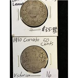1910 CANADA 50 CENTS EDWARD AND VICTORIA LEAVES LOT OF 2 COINS!