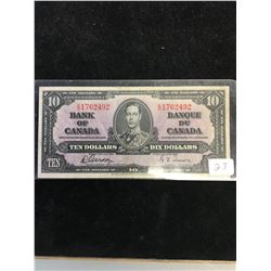 1937 BANK OF CANADA $10 NOTE!