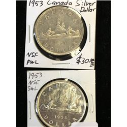 1953 CANADA SILVR DOLLAR LOT! NSF-SWL AND FWL