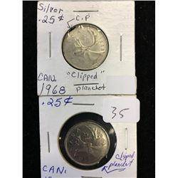 CANADA 25 CENT ERROR LOT! 2 CLIPPED PLANCHETS