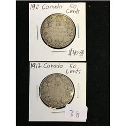 1911 & 1912 CANADA 50 CENTS LOT OF 2 COINS!