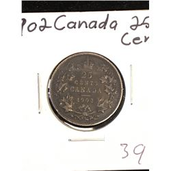 1902 CANADA 25 CENTS! TONED.