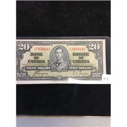 1937 BANK OF CANADA $20 NOTE! HIGH GRADE!!