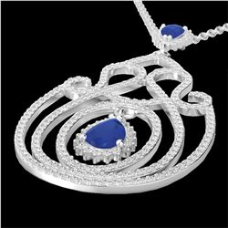 3.20 CTW Sapphire & Micro Pave VS/SI Diamond Heart Necklace 14K White Gold - REF-162F4M - 22441