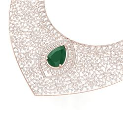63.93 CTW Royalty Emerald & VS Diamond Necklace 18K Rose Gold - REF-2690R9K - 39571