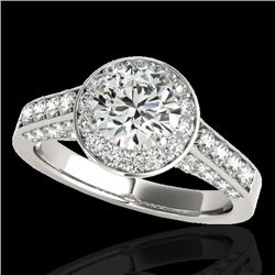 1.8 CTW H-SI/I Certified Diamond Solitaire Halo Ring 10K White Gold - REF-178T2X - 34042