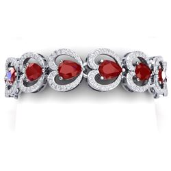 32.15 CTW Royalty Ruby & VS Diamond Bracelet 18K White Gold - REF-690N9Y - 38688
