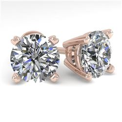 3 CTW Certified VS/SI Diamond Stud Earrings 14K Rose Gold - REF-921Y3N - 38379