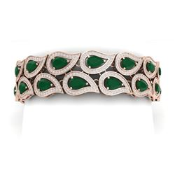 21.6 CTW Royalty Emerald & VS Diamond Bracelet 18K Rose Gold - REF-818F2M - 39481