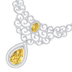 73.43 CTW Royalty Canary Citrine & VS Diamond Necklace 18K White Gold - REF-1527X3T - 39848