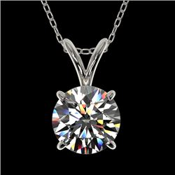 1 CTW Certified H-SI/I Quality Diamond Solitaire Necklace 10K White Gold - REF-178Y2N - 33182