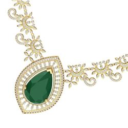 65.75 CTW Royalty Emerald & VS Diamond Necklace 18K Yellow Gold - REF-1581W8H - 39776