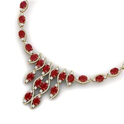 65.93 CTW Royalty Ruby & VS Diamond Necklace 18K Yellow Gold - REF-1145H5W - 38999