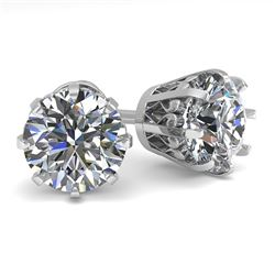 2.50 CTW VS/SI Diamond Stud Solitaire Earrings 18K White Gold - REF-745N5Y - 35694