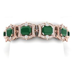 43.87 CTW Royalty Emerald & VS Diamond Bracelet 18K Rose Gold - REF-836X4T - 38776
