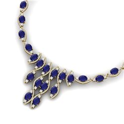 65.93 CTW Royalty Sapphire & VS Diamond Necklace 18K Yellow Gold - REF-1072K8R - 39002