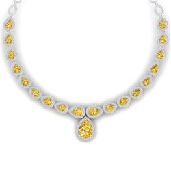 48.24 CTW Royalty Canary Citrine & VS Diamond Necklace 18K White Gold - REF-781F8M - 39432