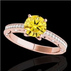 1.25 CTW Certified Si Intense Yellow Diamond Solitaire Antique Ring 10K Rose Gold - REF-163X6T - 347