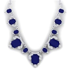 75.21 CTW Royalty Sapphire & VS Diamond Necklace 18K White Gold - REF-1072N8Y - 38751