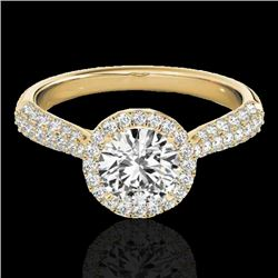 1.4 CTW H-SI/I Certified Diamond Solitaire Halo Ring 10K Yellow Gold - REF-170K4R - 33300