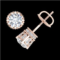3 CTW VS/SI Diamond Solitaire Art Deco Stud Earrings 18K Rose Gold - REF-584W3H - 36837