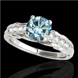 1.2 CTW SI Certified Fancy Blue Diamond Solitaire Ring 10K White Gold - REF-158Y2N - 34939