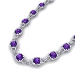 66 CTW Amethyst & VS/SI Diamond Necklace 14K White Gold - REF-794N5Y - 23035