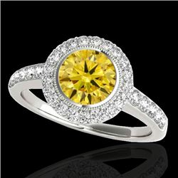1.5 CTW Certified Si Fancy Intense Yellow Diamond Solitaire Halo Ring 10K White Gold - REF-180R2K -