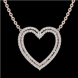 2 CTW VS/SI Diamond Double Heart Halo Designer Necklace 14K Rose Gold - REF-134H8W - 20480
