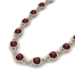 66 CTW Garnet & VS/SI Diamond Certified Necklace 14K Yellow Gold - REF-794T5X - 23045