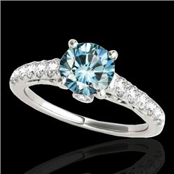 1.5 CTW SI Certified Fancy Blue Diamond Solitaire Ring 10K White Gold - REF-172Y8N - 34990