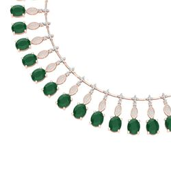 65.62 CTW Royalty Emerald & VS Diamond Necklace 18K Rose Gold - REF-1254N5Y - 39121
