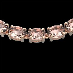 54 CTW Morganite Eternity Designer Inspired Tennis Necklace 14K Rose Gold - REF-614T9X - 23406