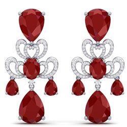 58.73 CTW Royalty Designer Ruby & VS Diamond Earrings 18K White Gold - REF-636F4M - 38673
