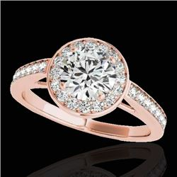 1.45 CTW H-SI/I Certified Diamond Solitaire Halo Ring 10K Rose Gold - REF-169M3F - 33797