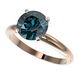 2.50 CTW Certified Fancy Blue SI Diamond Solitaire Ring 10K Rose Gold - REF-608F5M - 32949