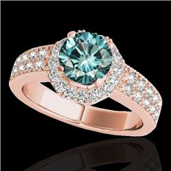 1.4 CTW SI Certified Fancy Blue Diamond Solitaire Halo Ring 10K Rose Gold - REF-172M5F - 34555