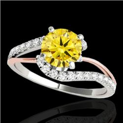 1.35 CTW Certified Si Fancy Diamond Bypass Solitaire Ring 2 Tone 10K White & Rose Gold - REF-167W3H
